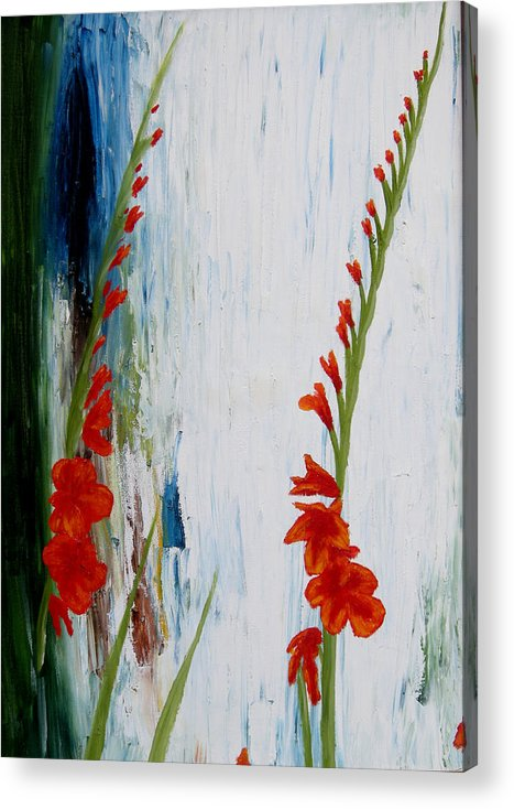 Flowers Acrylic Print featuring the painting Gladiolus by Ivan Rijhoff