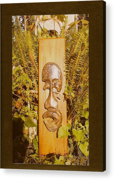 Bronze Man Acrylic Print featuring the photograph Teak Man Mask by Eric Singleton