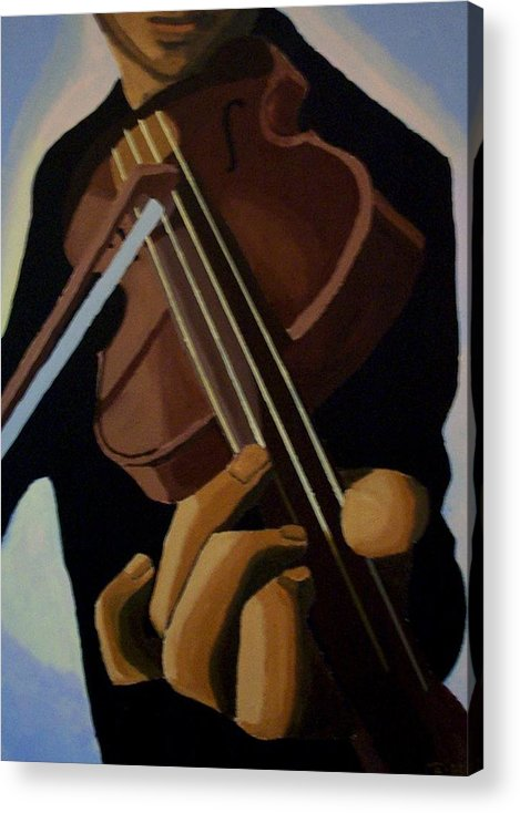 Portrait Acrylic Print featuring the painting Violin Player by Mats Eriksson