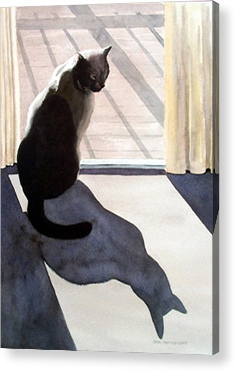 Cat Acrylic Print featuring the print Waiting To Go Out by Anne Trotter Hodge
