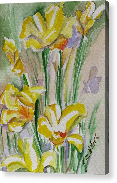 Floral Acrylic Print featuring the painting Yellow Wild Flowers I by Kathy Mitchell