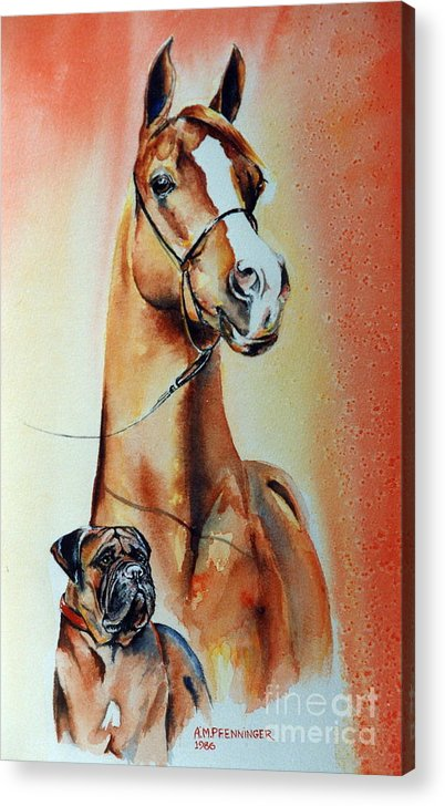Horse Acrylic Print featuring the painting Best Friends by Adele Pfenninger
