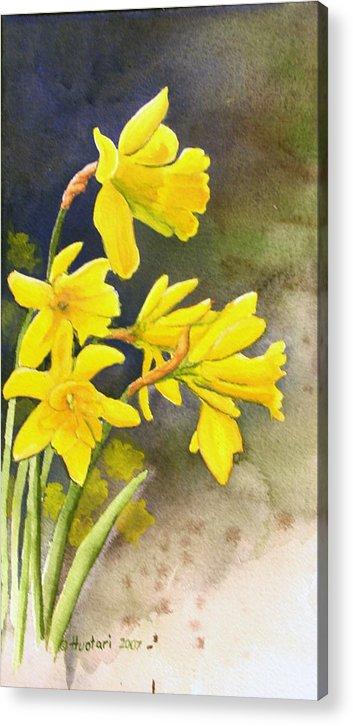 Rick Huotari Acrylic Print featuring the painting Daffodils by Rick Huotari