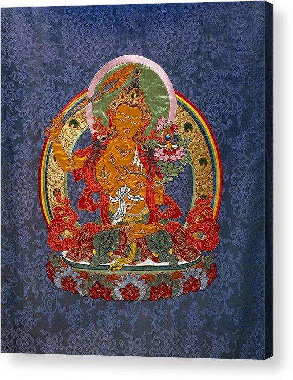 Manjushri Acrylic Print featuring the tapestry - textile Manjushri by Leslie Rinchen-Wongmo