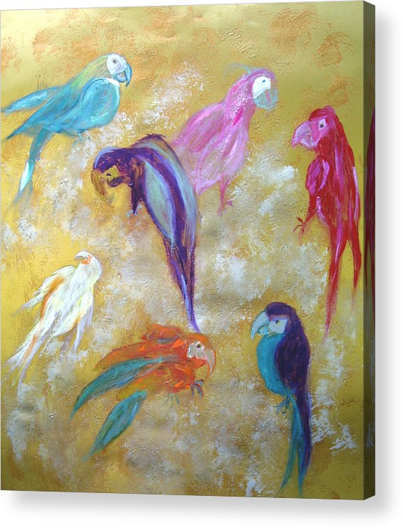 Exotic Acrylic Print featuring the painting All Dressed Up - Parrots by Michela Akers