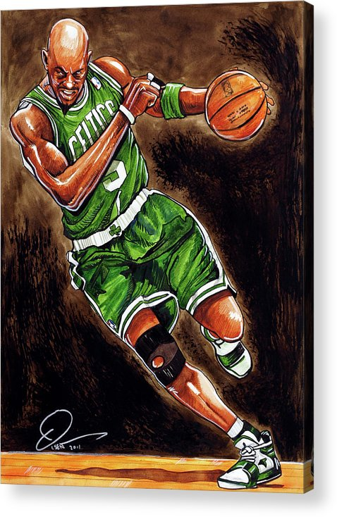 Kevin Garnett Acrylic Print featuring the painting Kevin Garnett by Dave Olsen