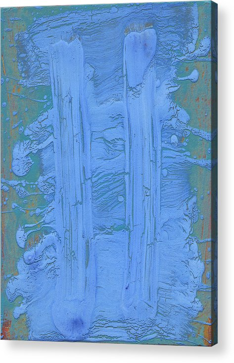 Blue Acrylic Print featuring the painting Blue Fragments by F Michael Wells