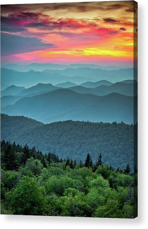 Blue Ridge Parkway Acrylic Print featuring the photograph Blue Ridge Parkway Sunset - The Great Blue Yonder by Dave Allen
