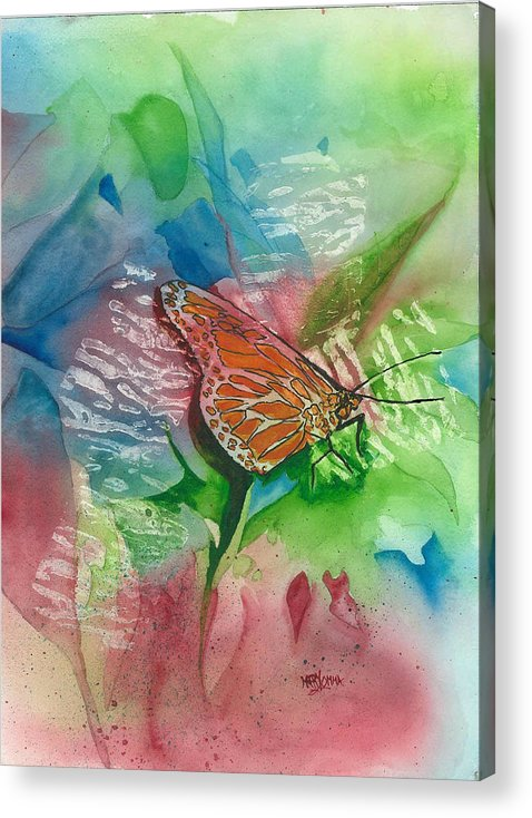 Orange Butterfly Acrylic Print featuring the painting Butterfly W Print by Mary Lomma