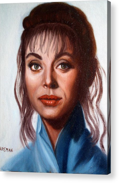 Portrait Acrylic Print featuring the painting Larissa by Lia Marsman