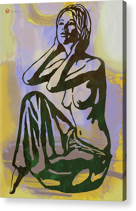 Nude Acrylic Print featuring the mixed media Dawning - Nude Pop Stylised Art Poster by Kim Wang
