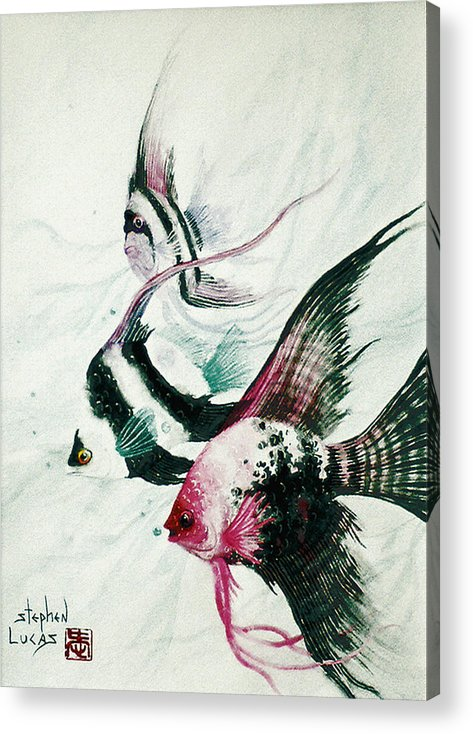 Fish Acrylic Print featuring the painting Neptunes Trio by Stephen Lucas