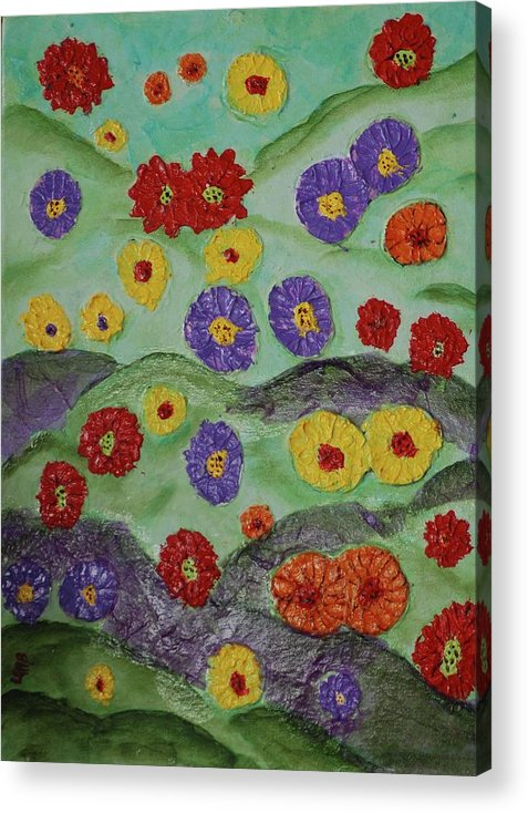 Flowers Acrylic Print featuring the painting Tata Land by Lauren Mooney Bear