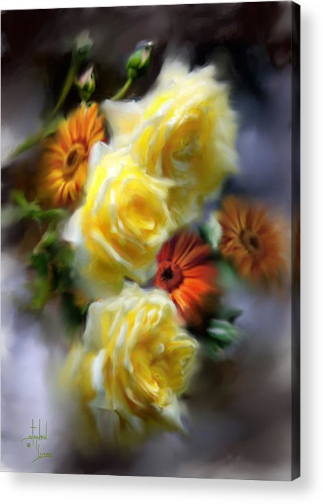 Flowers Acrylic Print featuring the digital art Yellow Roses by Stephen Lucas