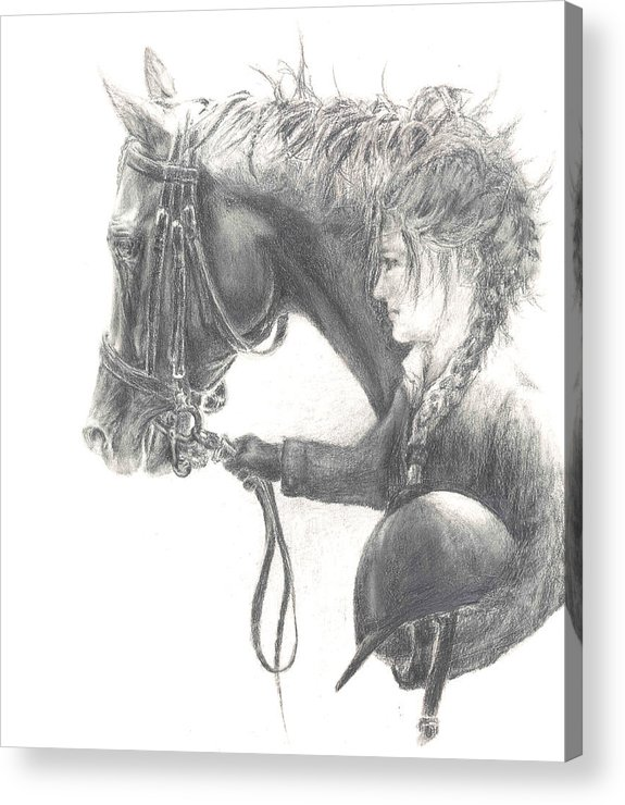 Dressage Acrylic Print featuring the drawing One Intent by Barbara Widmann