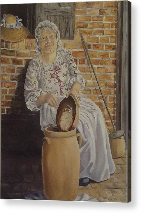 Historic Acrylic Print featuring the painting Churning Butter by Wanda Dansereau