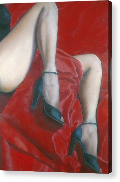 Red Acrylic Print featuring the painting Pillow by Mary Ann Leitch