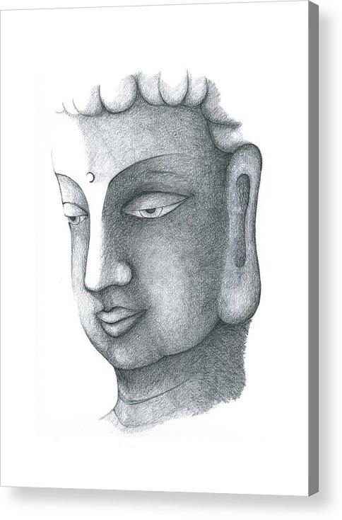 Buddha Acrylic Print featuring the drawing Stillness by Keiko Katsuta