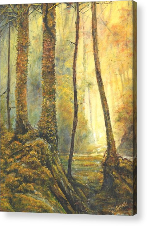 Landscape Impressionist Forest Acrylic Print featuring the painting Forest Wonderment by Craig shanti Mackinnon