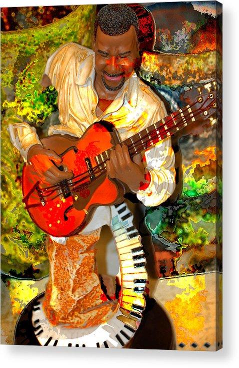 Music Acrylic Print featuring the digital art Guitar And Keys by Danielle Stephenson