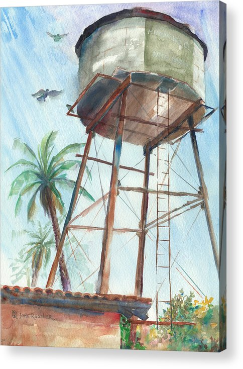 Watercolor Acrylic Print featuring the painting High Water...now Dry by John Ressler