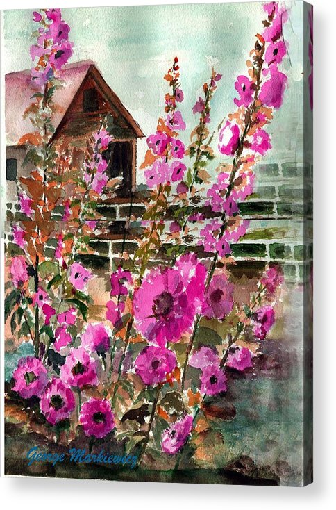 Hollyhocks And Bard Acrylic Print featuring the print Hollyhocks And Barn by George Markiewicz