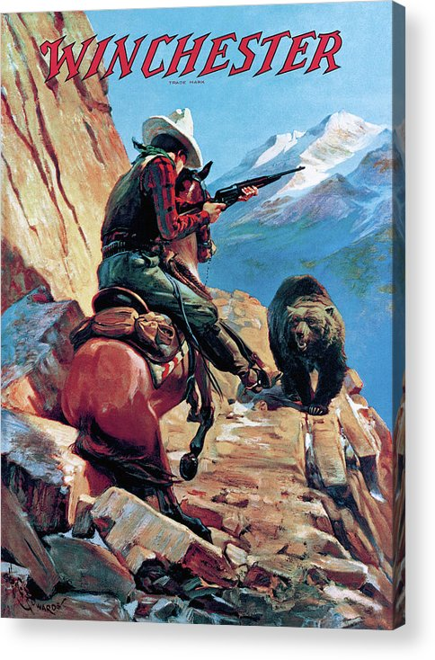 Cowboy Acrylic Print featuring the painting Horseman And Bear by H G Edwards