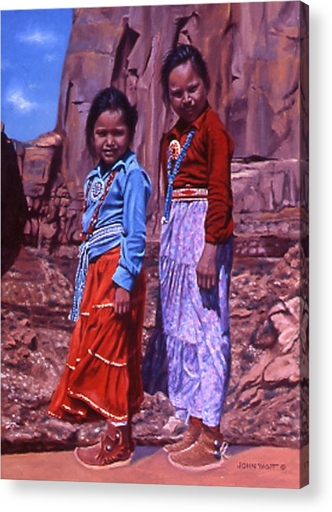Navajo Indian Southwestern Monument Valley Acrylic Print featuring the painting Simple Pleasures by John Watt