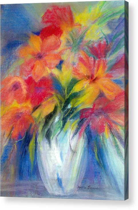 Flowers Acrylic Print featuring the painting White Vase by Maritza Bermudez