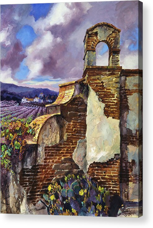 Oil Acrylic Print featuring the painting The Mission Vineyard by Clifton E Hadfield