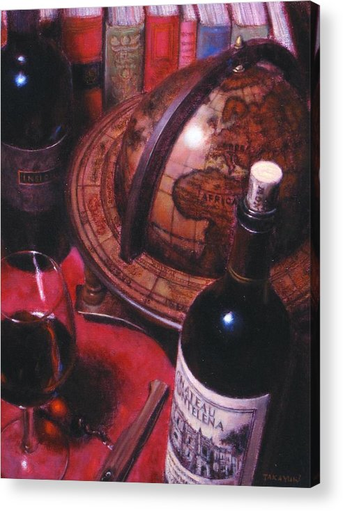 Wine Still Life Acrylic Print featuring the painting Little Break Fine Red Wine by Takayuki Harada