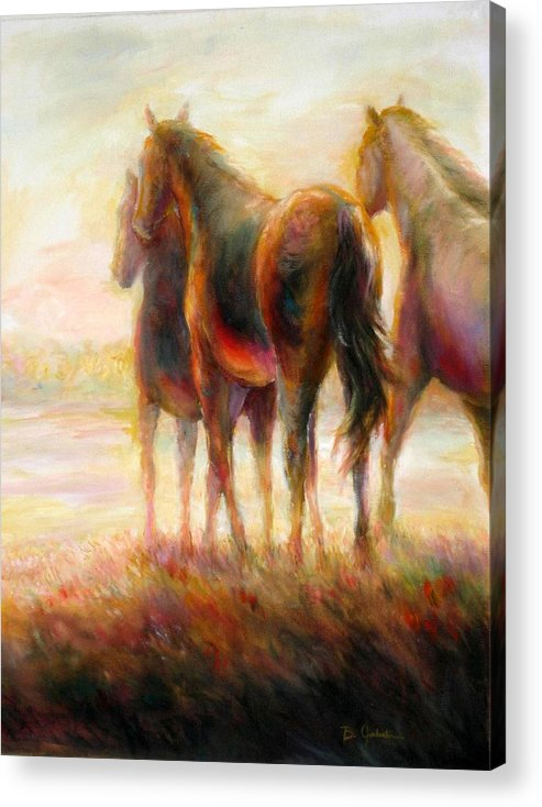 Horses Acrylic Print featuring the painting Afternoon Glow by Bonnie Goedecke