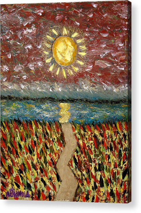 Lake Acrylic Print featuring the painting Meet Me At The Lake by Albert Almondia