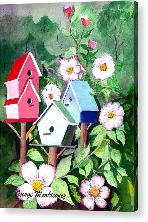 Birdhouse Acrylic Print featuring the print Birdhouse by George Markiewicz