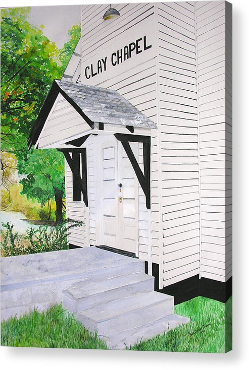 Church Acrylic Print featuring the painting Clay Chapel by Anna Dubon