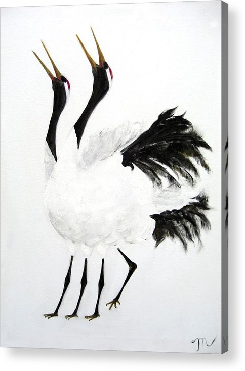 Bird Acrylic Print featuring the painting Duet Of The Cranes by Michela Akers