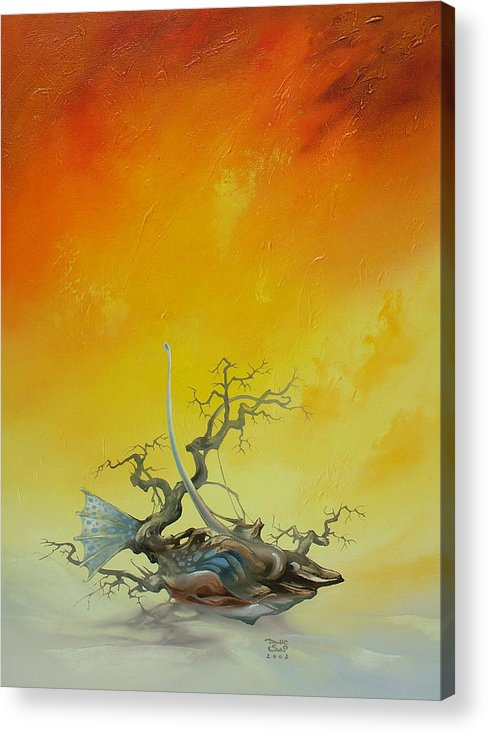 Acrylic Print featuring the painting Fishtree 6. by Zoltan Ducsai
