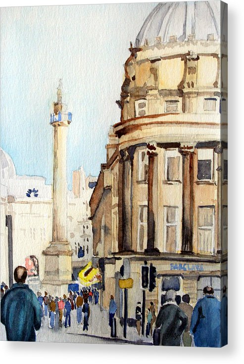 City. Newcastle. England. Acrylic Print featuring the painting Grainger Monument. Newcastle Upon Tyne by John Cox