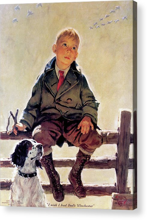 Outdoor Acrylic Print featuring the painting I Wish I Had Dad's Winchester by Eugene Ivard