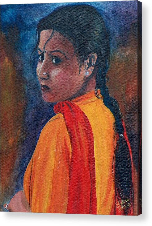 Maiden Acrylic Print featuring the painting Maiden Of Color by Sylvia Stone