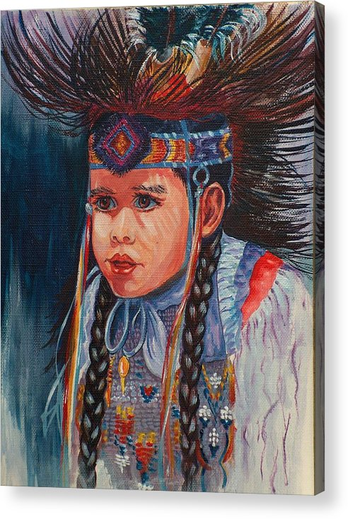 Native American Acrylic Print featuring the painting Native American Dance by Sylvia Stone