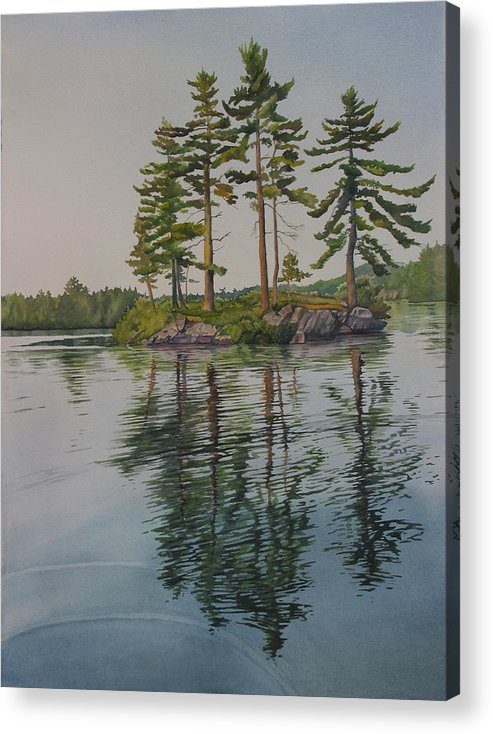 Lake Acrylic Print featuring the painting Picnic Island At Dawn by Debbie Homewood