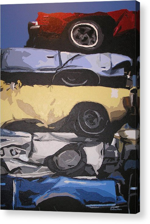 Cars Acrylic Print featuring the painting Reunited by Ricklene Wren
