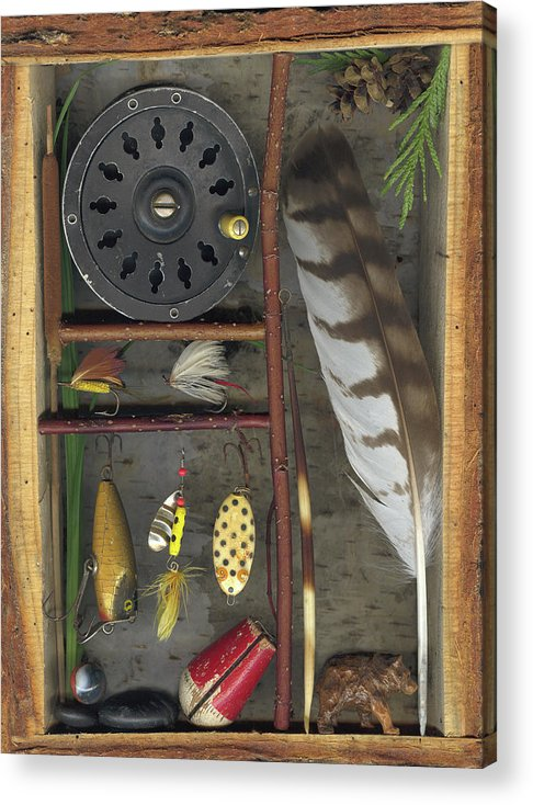 Shadow Box Acrylic Print featuring the mixed media Shadow Box A by Sandi F Hutchins