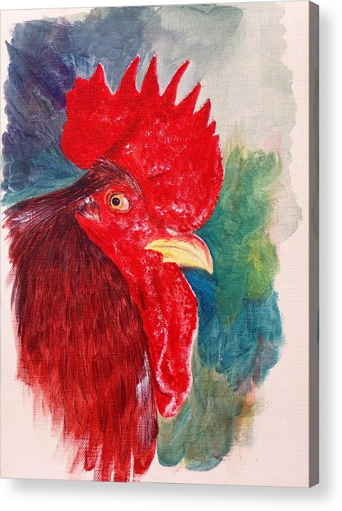 Rooster Acrylic Print featuring the painting The Rooster Rules by Sylvia Stone