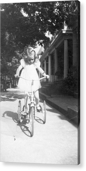 Bike Acrylic Print featuring the photograph Little Girl On Vintage Bike by Cheryl Viar