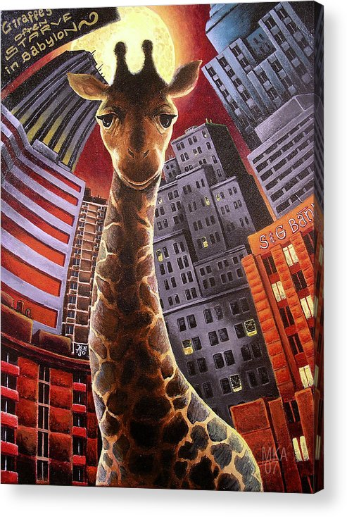 Giraffe City Babylon Surreal Acrylic Print featuring the painting Giraffes Often Starve In Babylon by Marcus Anderson