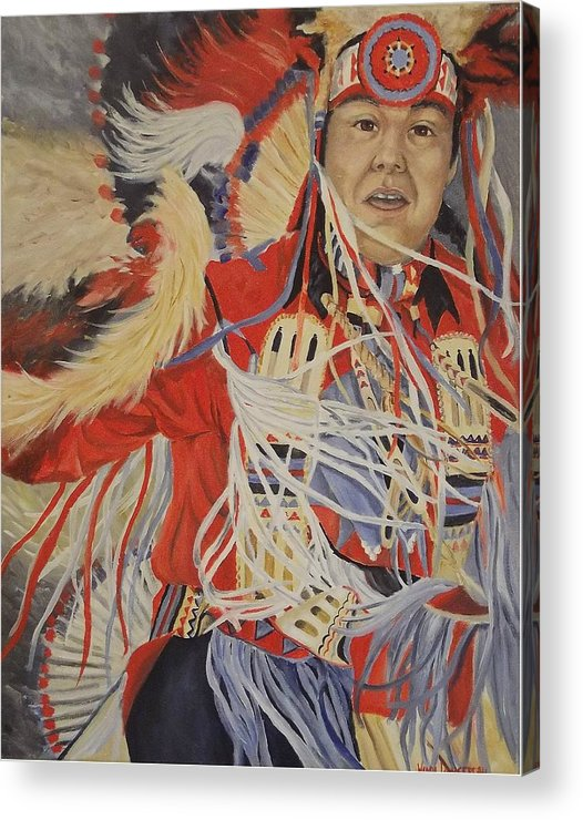 Indian Acrylic Print featuring the painting At the Powwow by Wanda Dansereau
