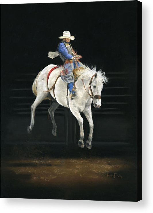 Rodeo Acrylic Print featuring the pastel Hangin' On by Karen Elkan