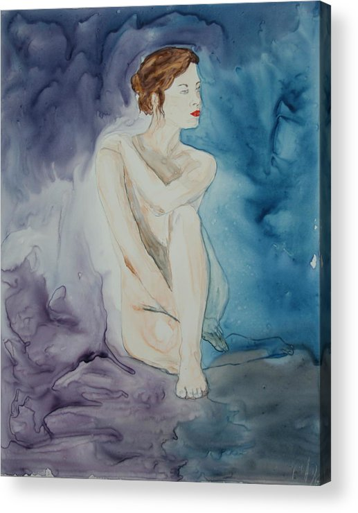 Figure Acrylic Print featuring the painting Muse in Blue by Monika Degan